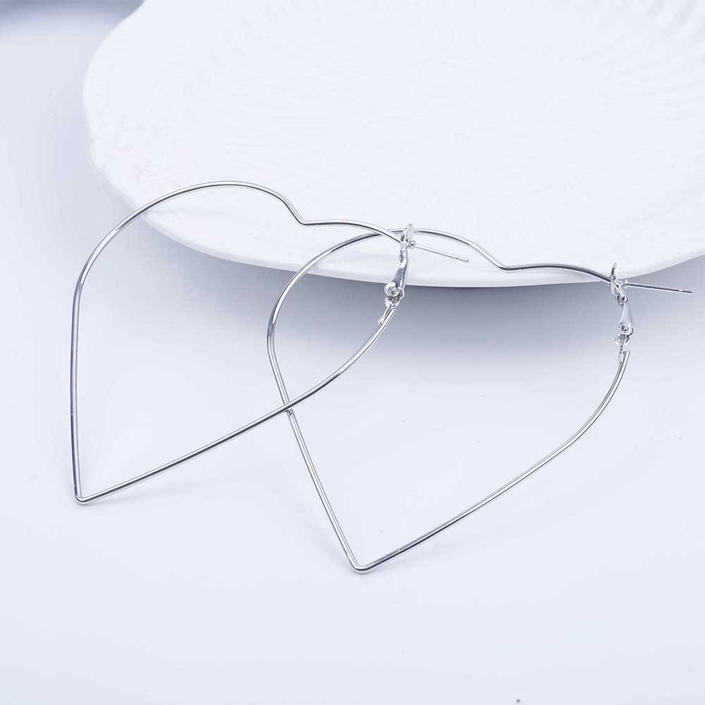 Women's Heart Shaped Hoop Earrings Earrings 8d255f28538fbae46aeae7: Gold|Silver
