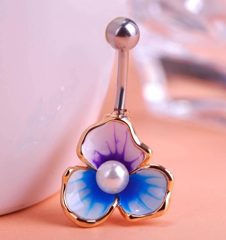 Women's Luxurious Enamel Flower Shaped Belly Button Ring