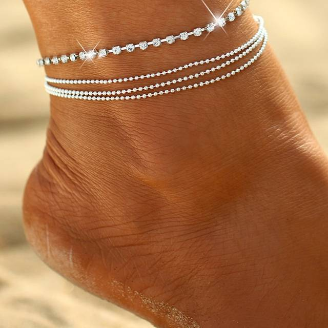 Women's Multi-Layered Crystal Anklet Anklets 8d255f28538fbae46aeae7: Silver