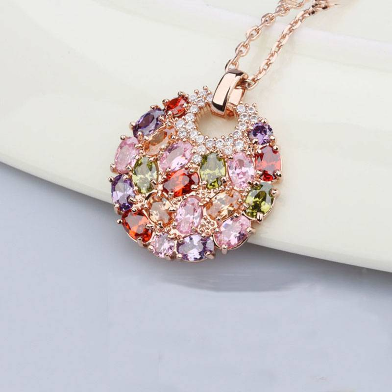 Women's Multicolor Cubic Zirconia Pendants Chokers & Pendants 8d255f28538fbae46aeae7: Champagne Gold|Rose Gold