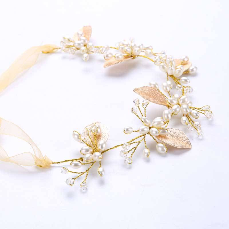 Women's Pearl Bridal Ribbon Hair Jewelry
