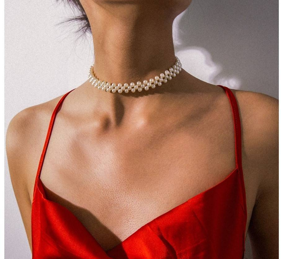 Women's Pearl Choker Necklace
