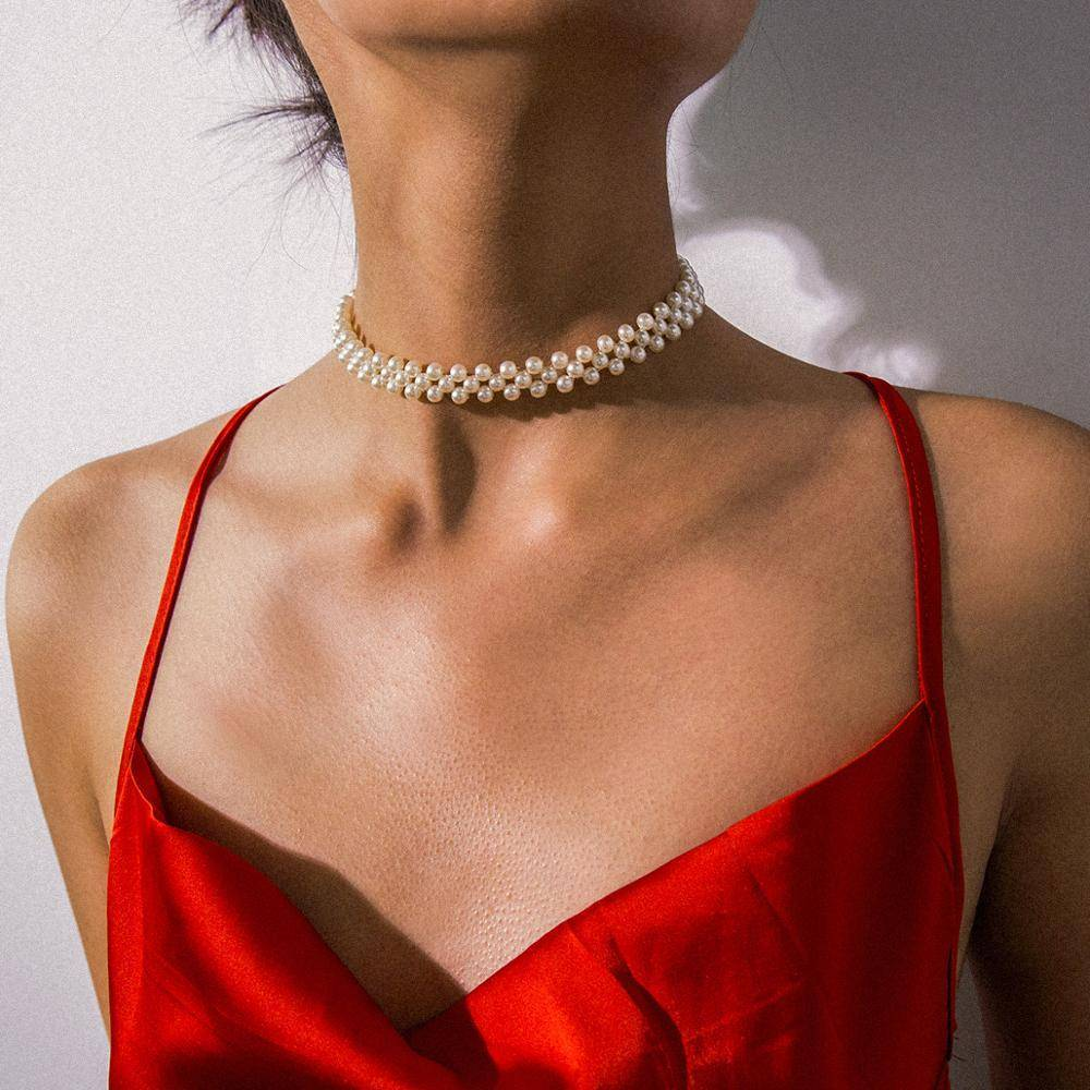Women's Pearl Choker Necklace Necklaces 9f5922eed836682b5c12d7: White