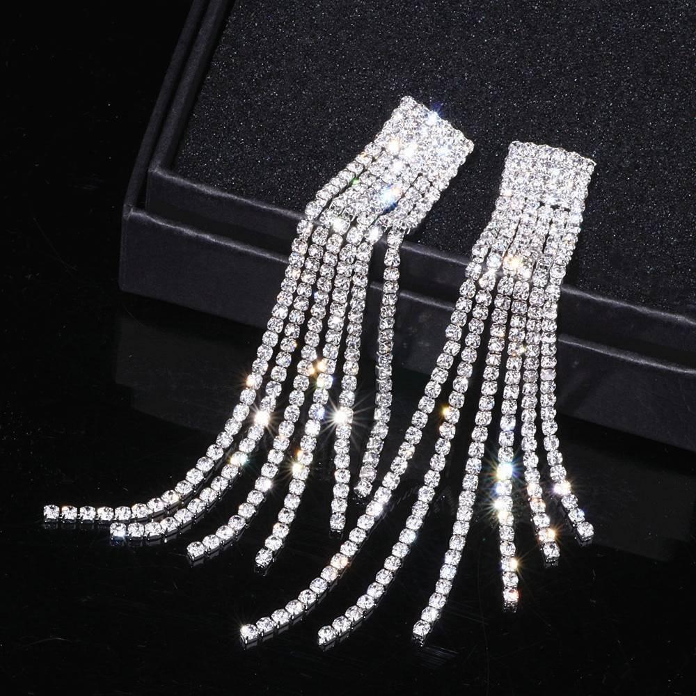 Women's Rhinestone Tassel Earrings Earrings