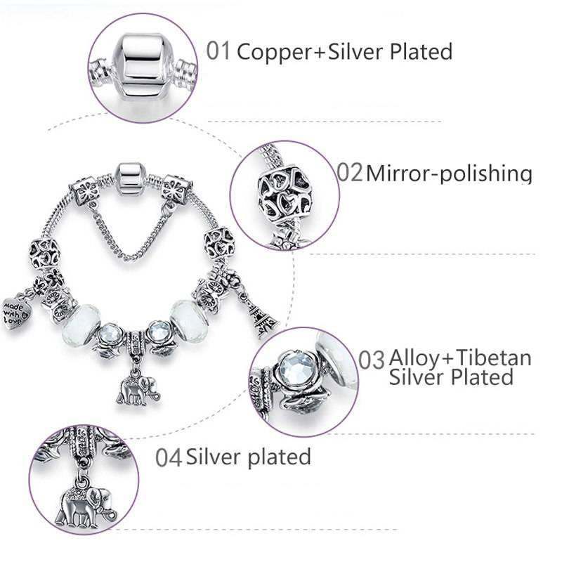 Women's Silver Plated Charms Bracelet Charms ba2a9c6c8c77e03f83ef8b: 18 cm / 7.09 inch|19 cm / 7.48 inch|20 cm / 7.87 inch