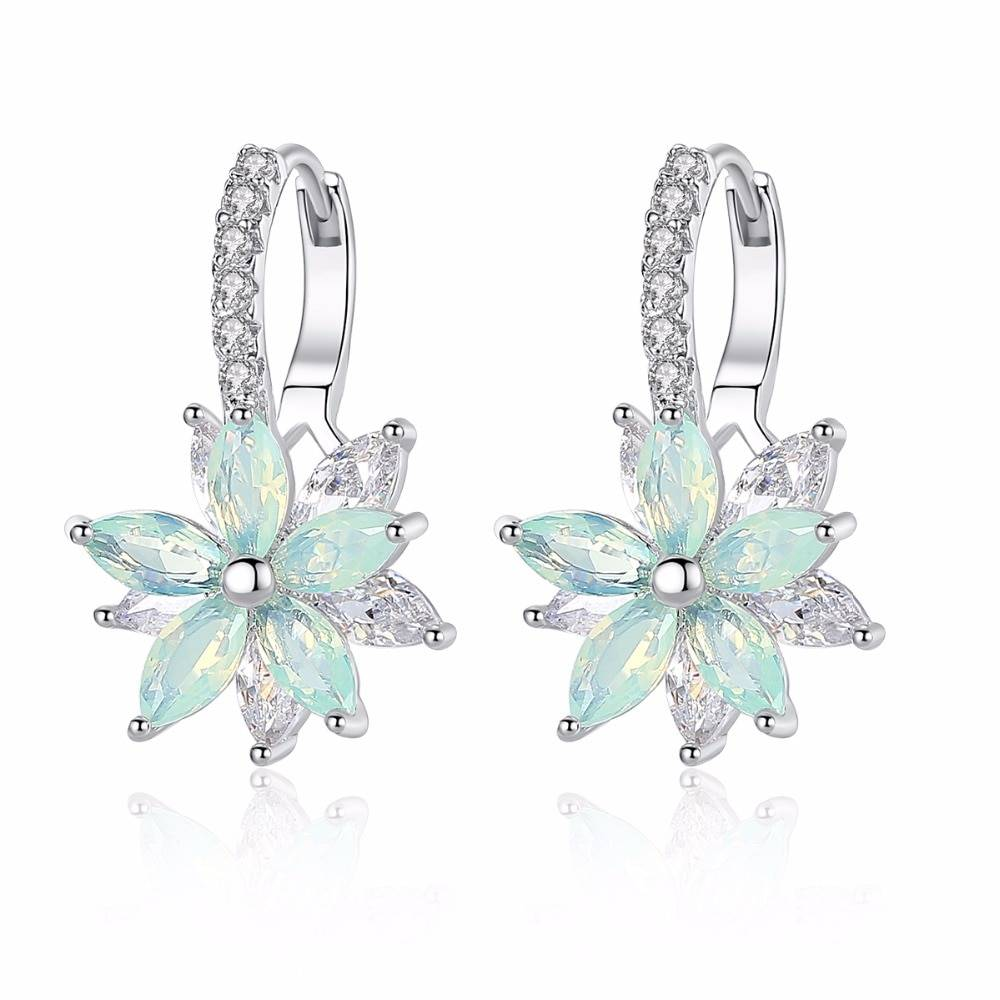 Women's Silver Plated Flower Shaped Earrings Earrings 8cb583355ccce88149135a: Blue|Green|Pink|Yellow
