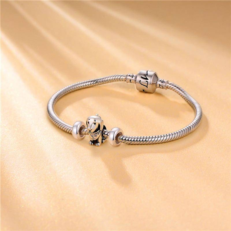 Women's Simple Sterling Silver Charms Pair Charms cb5feb1b7314637725a2e7: rose gold bead|silver spacer bead