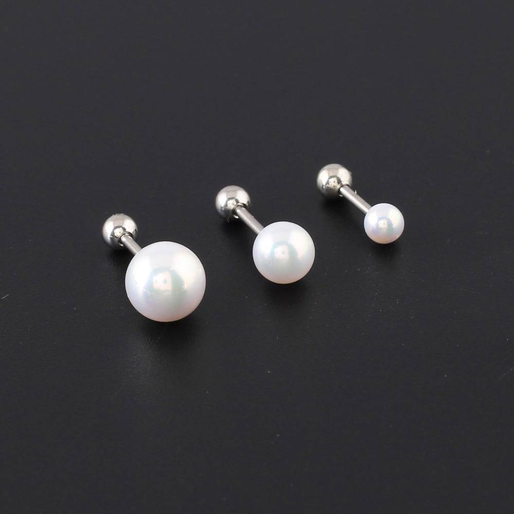 Women's Stainless Steel Screw Barbell Rings with Pearl Ball Body Jewelry b5f694488326076ff200c7: 10 mm / 0.39 inch|4 mm / 0.16 inch|6 mm / 0.24 inch|8 mm / 0.31 inch