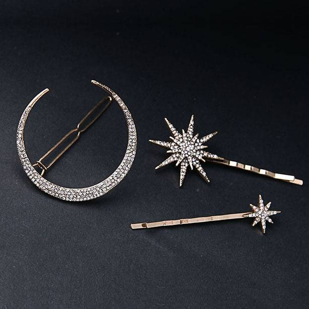 Women's Star and Moon Shaped Hair Clip Hair Jewelry a1fa27779242b4902f7ae3: 1|2|3|Set