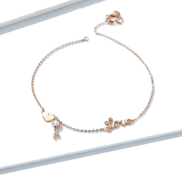 Women's Sterling Silver Anklet with Heart and Key Charm Anklets