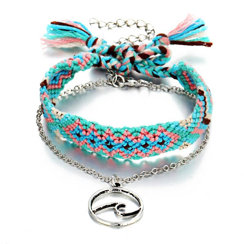 Women's Vintage Knitted Cotton Anklet Anklets cb5feb1b7314637725a2e7: Blue|Pink