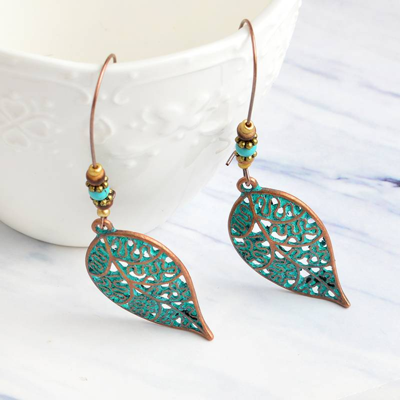 Women's Vintage Style Drop Earrings with Leaf Shaped Pendants Chokers & Pendants 8d255f28538fbae46aeae7: bronze|no bead|red copper