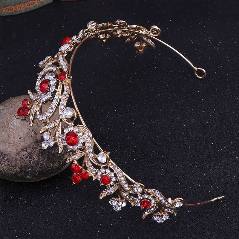 Women's Wedding Crystal Flowers Tiara Hair Jewelry cb5feb1b7314637725a2e7: Blue|Green|Red|Rose Gold