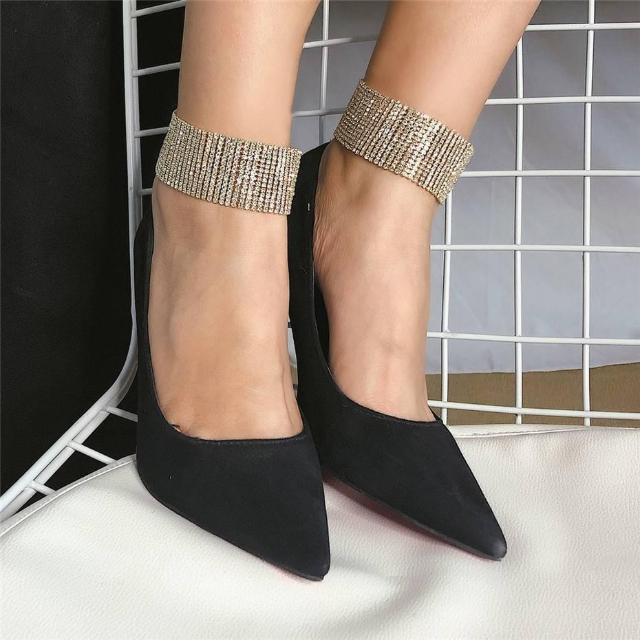 Women's Wide Rhinestone Anklet