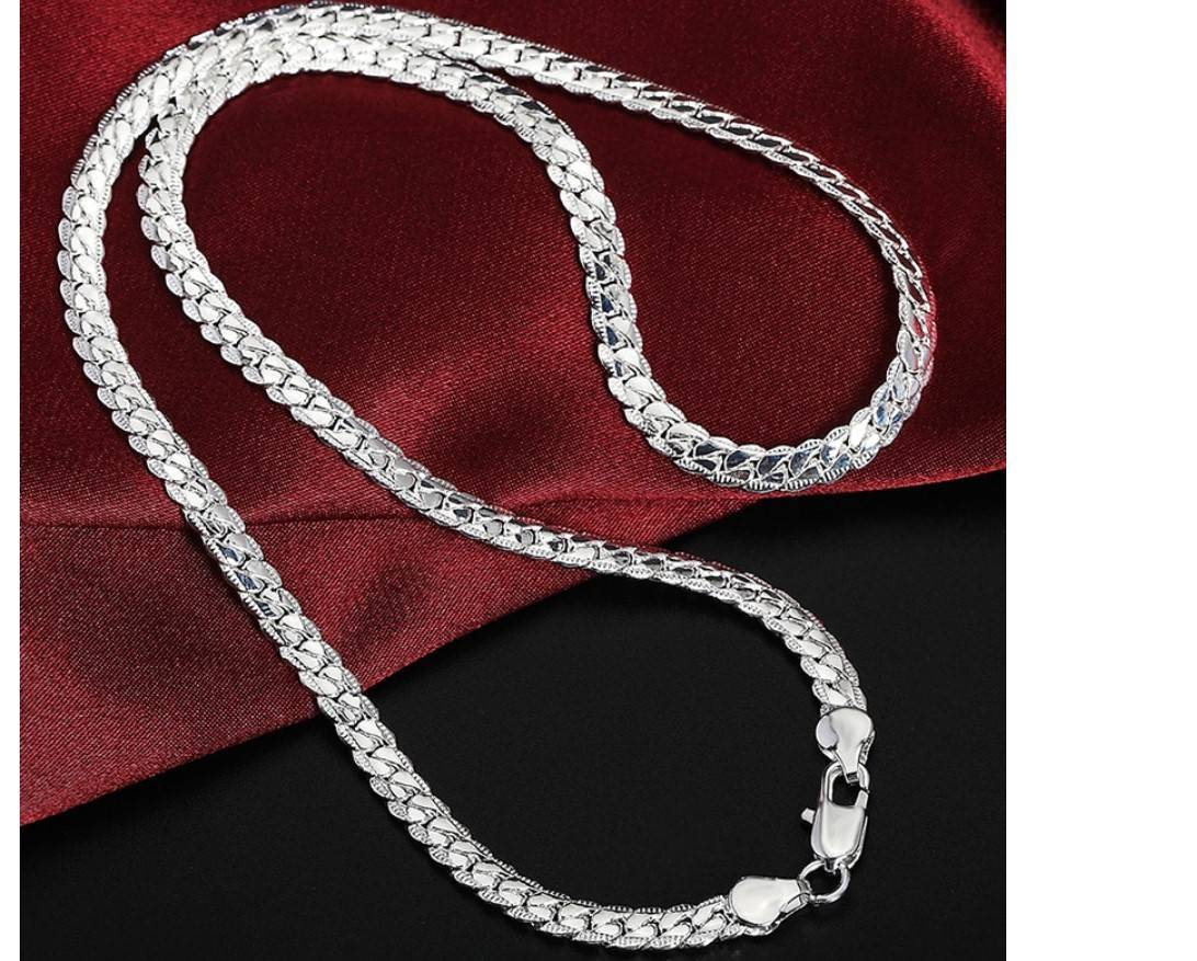 Women's 925 Sterling Silver Chain Necklace and Bracelet Set