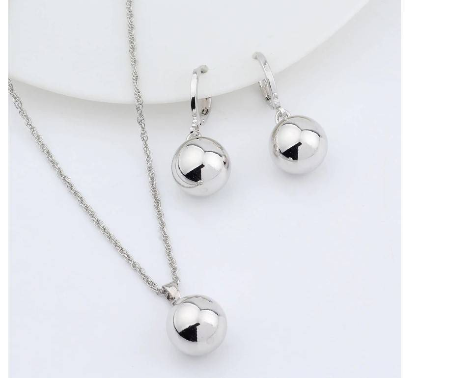 Women's Metal Ball Earrings and Necklace Set