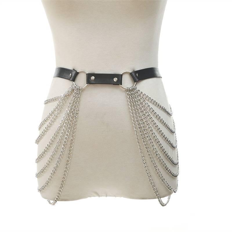 Black Leather Chain Belt