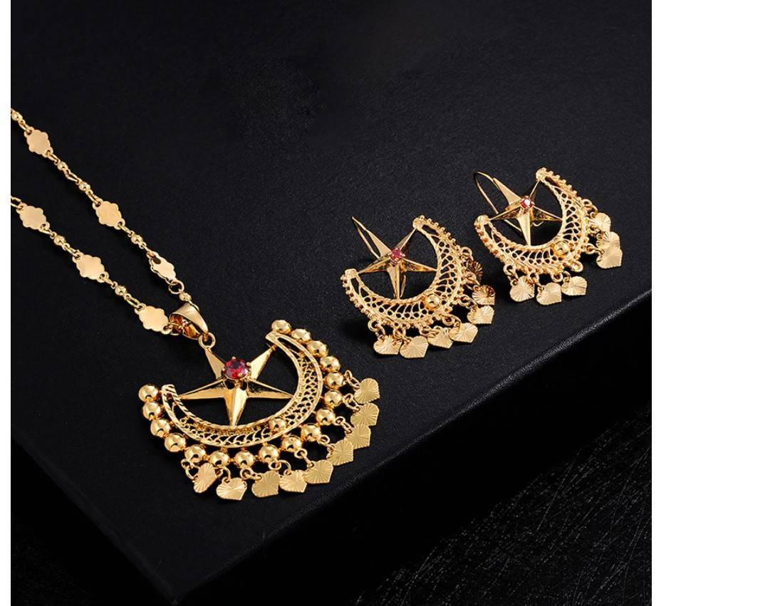 Women's Boho Star Necklace and Earrings Set