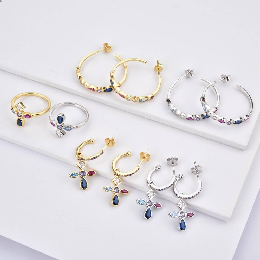 925 Sterling Silver Gold Cross Pendant Jewelry Set