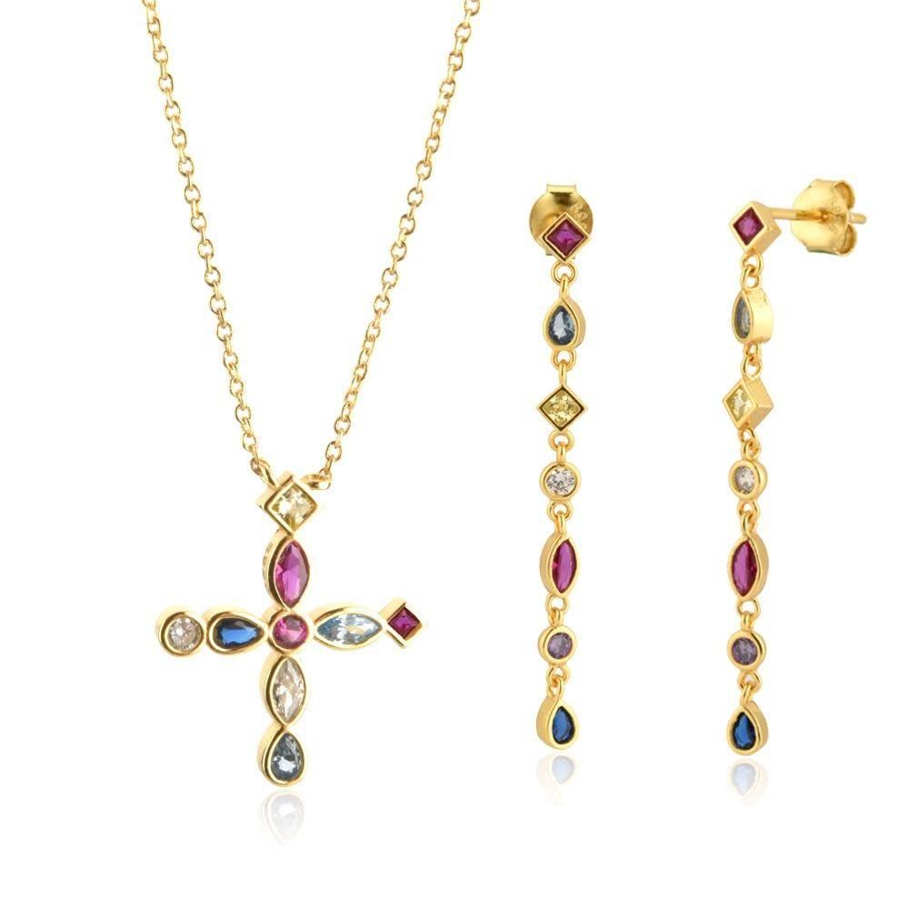 925 Sterling Silver Gold Cross Pendant Jewelry Set Jewelry Sets 8703dcb1fe25ce56b571b2: 6|7|8|Gold|Gold / 14 mm|Gold / 25 mm|Gold / 38 mm|Silver|Silver / 14 mm|Silver / 25 mm|Silver / 38 mm