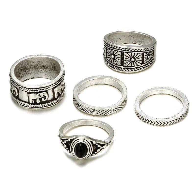 Bohemian Elephant Ring for Women Rings a4a426b9b388f11a2667f5: Silver