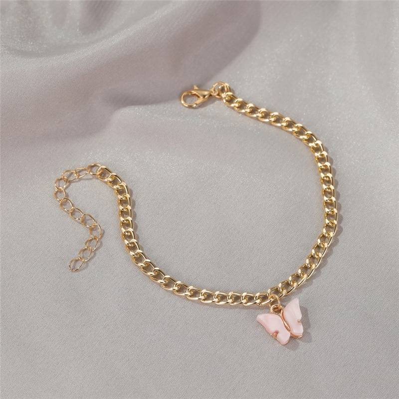 Cute Butterfly Pendant Anklets Anklets 4f42a677667e679f15ed83: Blue green Light pink Pink