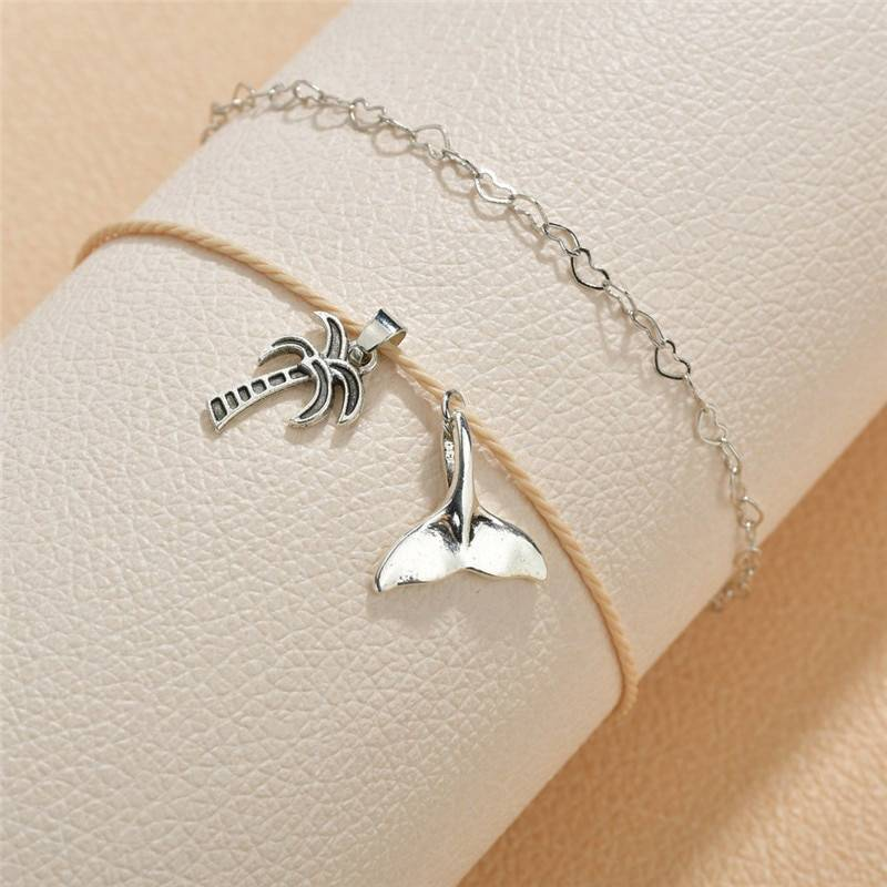 Double Layer Coconut Tree Ankle Bracelet Anklets 8d255f28538fbae46aeae7: Silver