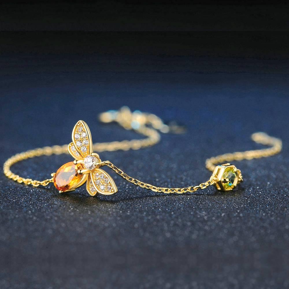 Elegant Citrine Bee Bracelet Bracelets 8703dcb1fe25ce56b571b2: Yellow