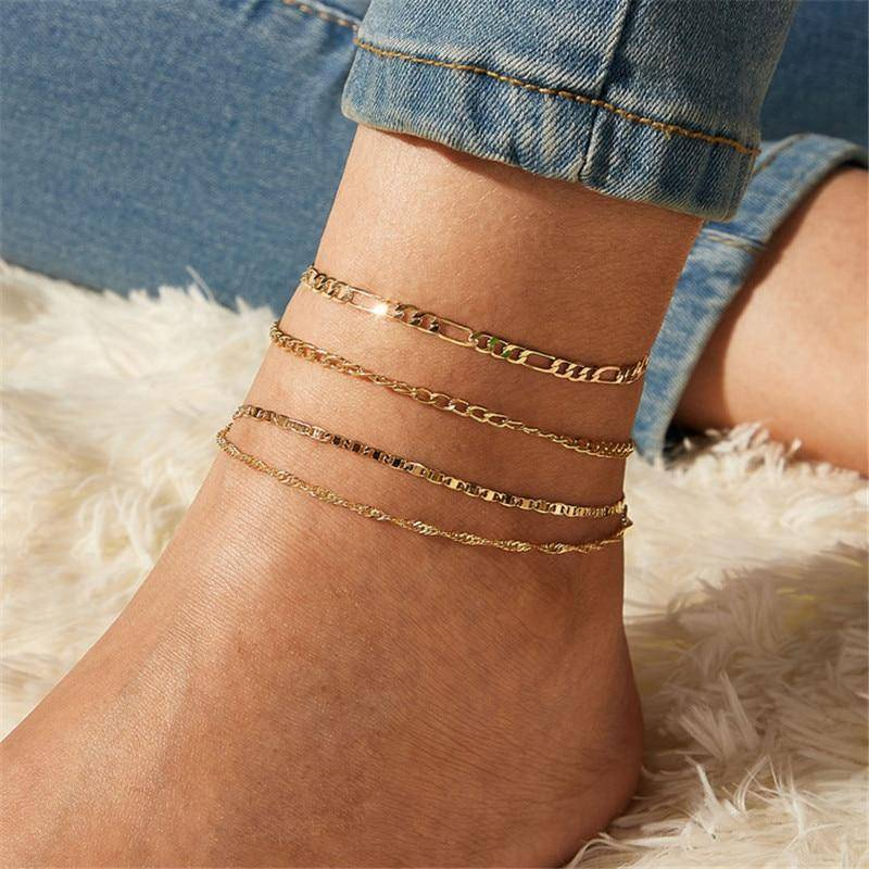Fashion Gold Color Anklets Set Anklets 8d255f28538fbae46aeae7: Gold