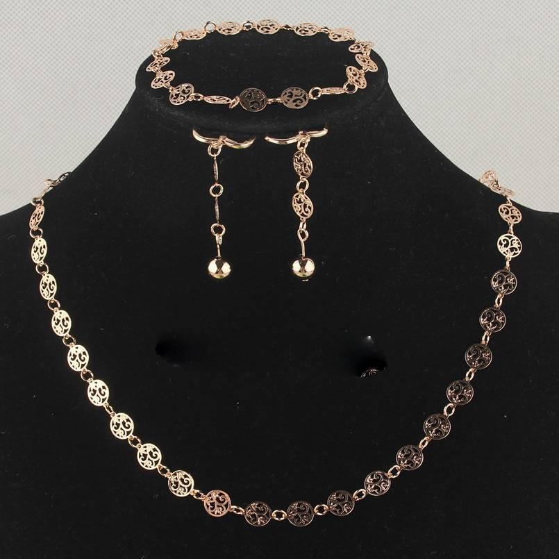 Gold Flower Jewelry Set