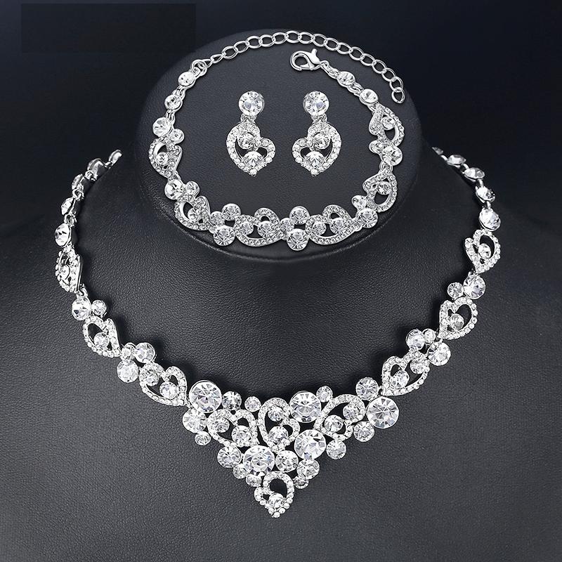 Heart Shaped Design Crystal Wedding Jewelry Set Jewelry Sets a1fa27779242b4902f7ae3: 2 pcs Set|3 pcs Set|3 pcs Set 2|Bracelet