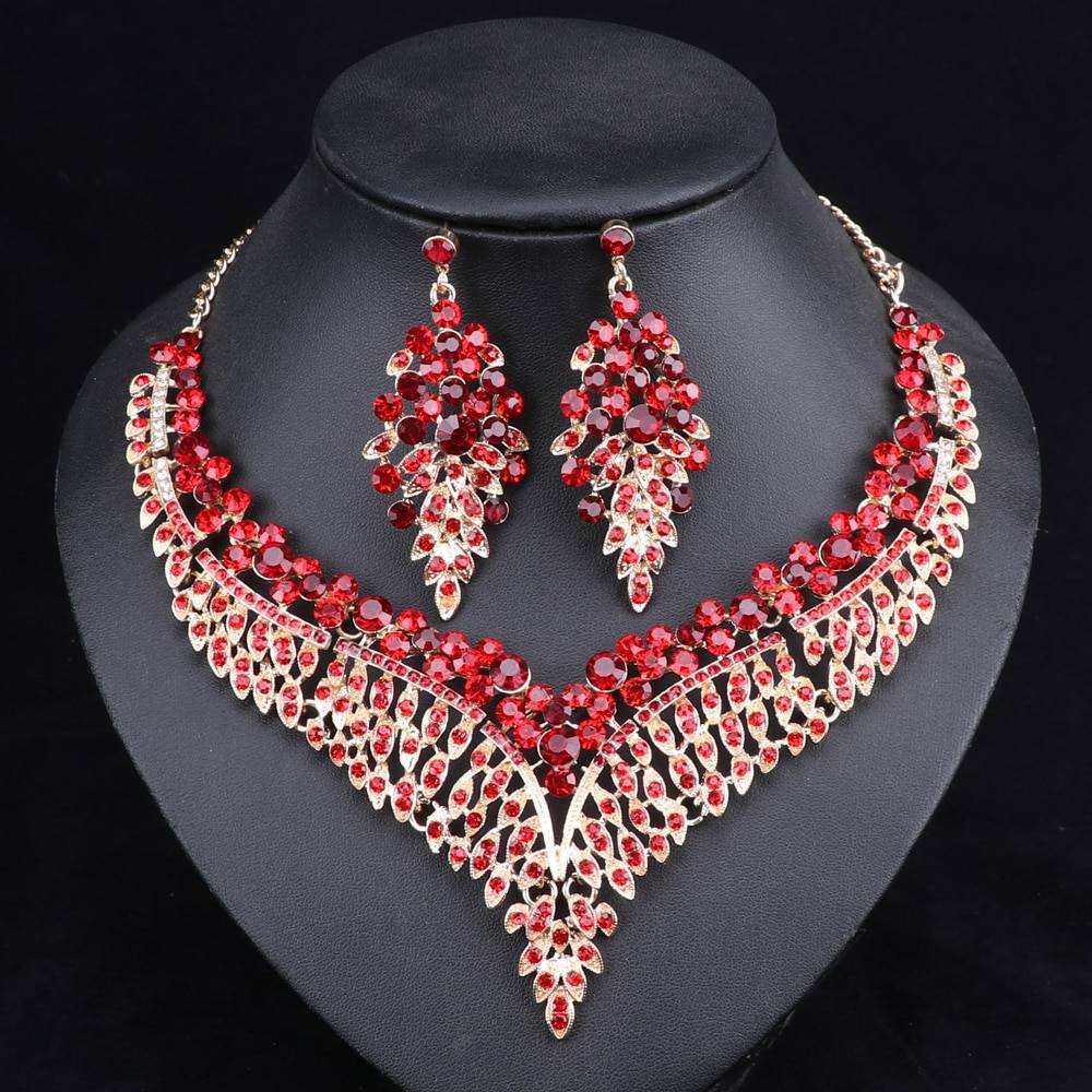 Luxurious Crystal Leaf Shaped Jewelry Set for Women Jewelry Sets cb5feb1b7314637725a2e7: Gold|Green|Multicolor|Purple|Red|White