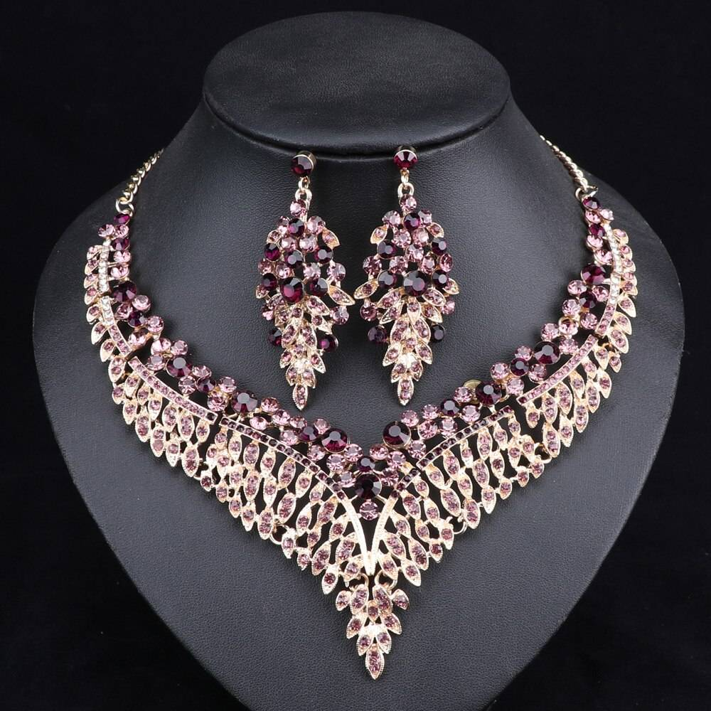 Luxurious Crystal Leaf Shaped Jewelry Set for Women
