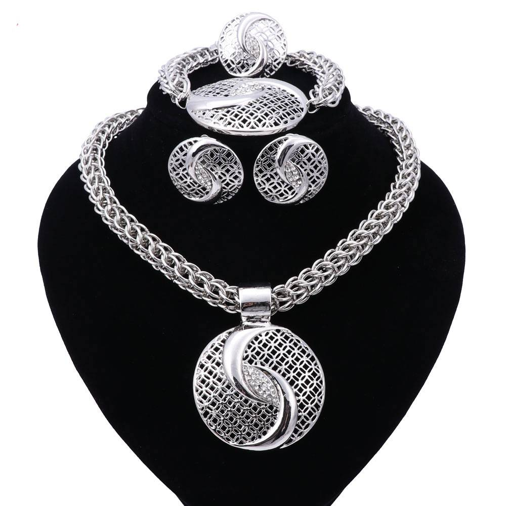 Luxury Gold / Silver Plated Jewelry Set Jewelry Sets 8d255f28538fbae46aeae7: Gold|Silver