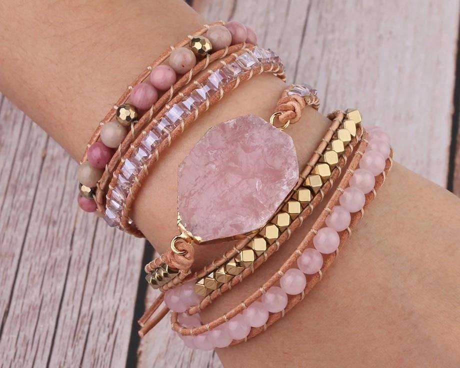 Natural Pink Quartz Stone Bracelet Bracelets