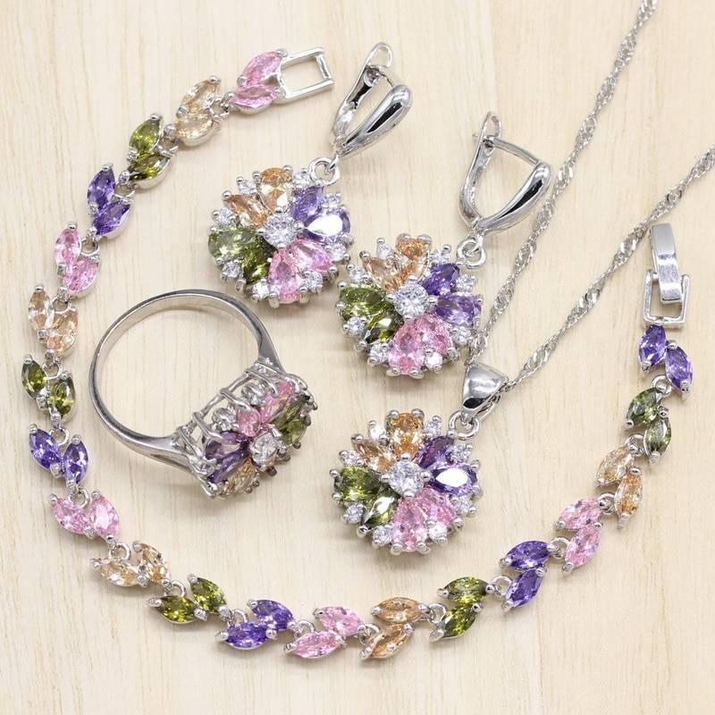 Purple Flower Crystal Lilac Jewelry Set