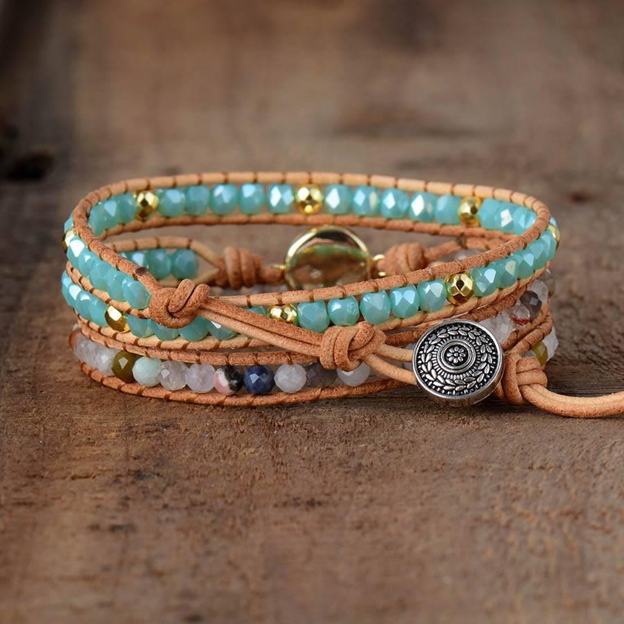 Women's Boho Natural Opal Leather Wrap Bracelet Bracelets 8d255f28538fbae46aeae7: Round Opal|Square Opal