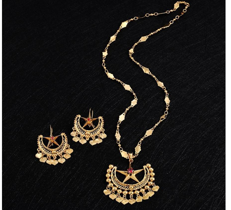 Women's Boho Star Necklace and Earrings Set Jewelry Sets 8d255f28538fbae46aeae7: Gold