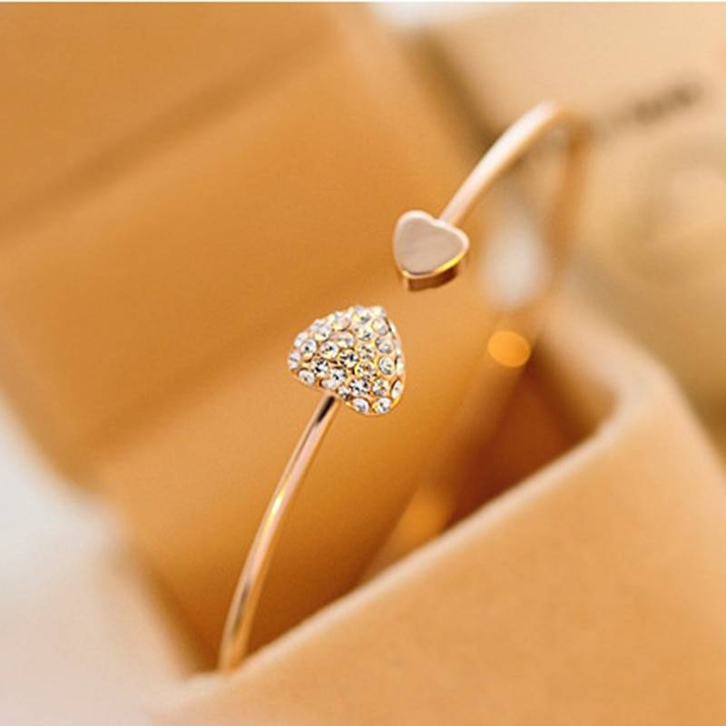 Women's Double Heart Bracelet Bracelets 8d255f28538fbae46aeae7: Gold|Silver