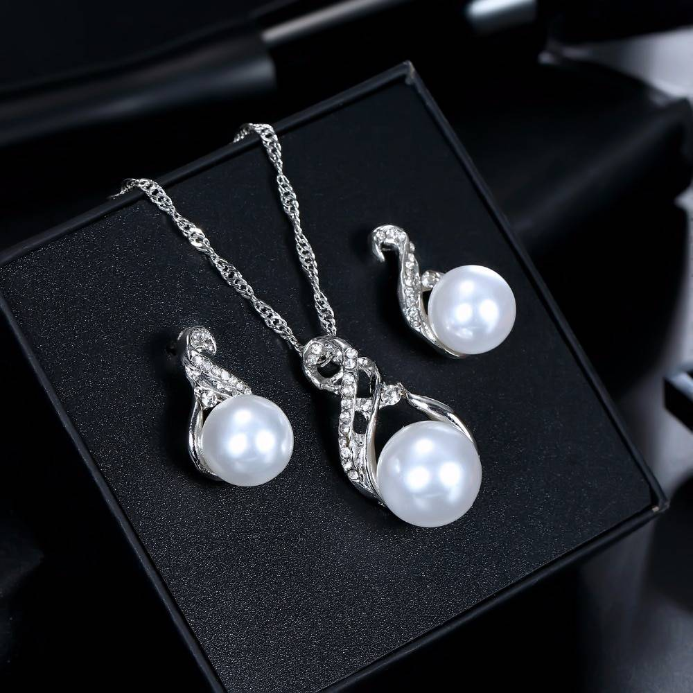 Women's Pearl Drop Earrings and Necklace Set Jewelry Sets 8d255f28538fbae46aeae7: Gold|Silver