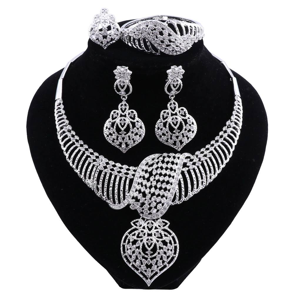 Women's Silver Plated Crystal Ornamented Jewelry Set Jewelry Sets